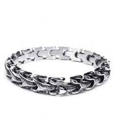 Snake Shaped Stainless Steel Mens Bracelet