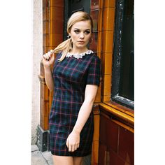 Lily and the Lamplight Blue Tartan Lace Collar Shift Dress (£38) ❤ liked on Polyvore featuring dresses, blue, tartan dress, blue plaid dress, cap sleeve dress, cap sleeve short dress et plaid shift dress