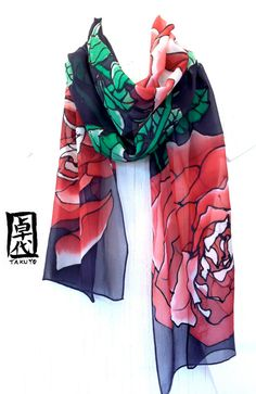Hand painted silk scarf. Red Silk Scarf. by SilkScarvesTakuyo, $125.00