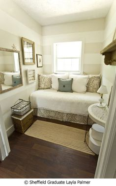 reading nook. love the bedding and soothing colors