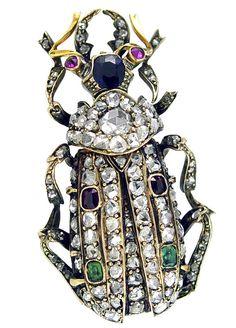Diamond Scarab Vintage Brooch