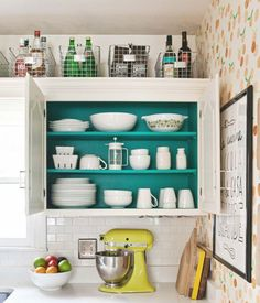 You can widen a room with a pop of color in an unexpected place.