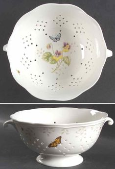 Butterfly Meadow Colander Berry Bowl by Lenox Kitchen Gadgets, Kitchen Utensils, Kitchen Tools, Lenox Butterfly Meadow, Lemon Kitchen, Wine Painting, Lenox China, Kitchenware, Tableware