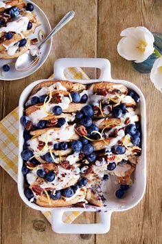 Blueberry-Pecan Pancake Bread Puddingcountryliving