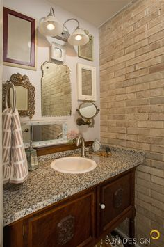 Powder Room of Mirrors, with family furniture transformed into granite bath sink. Bathroom Remodeling Contractors, Home Remodeling, Mirror Room, Bath Mirrors, Light Brick, Family Furniture, Sun Designs, Chic Bathrooms, Remodels