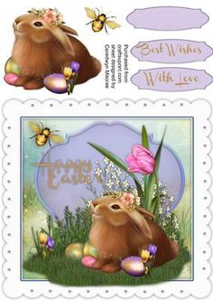 Beautiful Easetr Blessings  on Craftsuprint designed by Ceredwyn Macrae - A lovely card to make and give to anyone at Easter , beautiful Easter Blessings a lovely card has two greeting tags and a blank one , - Now available for download!