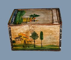 Lot of Two: Folk Painted Bride s Box and Folk Painted Candle Box, probably Continental