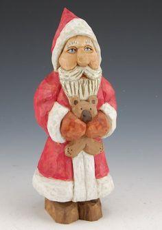 Santa and Teddy Bear   Santa Claus Figurines and Hand Carved Wooden Santas