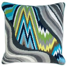 jonathan adler needlepoint and bargello Blue And Grey Jungle Road Bargello Throw Pillow
