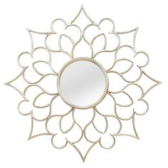 Stratton Home Décor Round Francesca Wall Mirror In Silver - The Stratton Home Décor Round Francesca Wall Mirror is a gorgeous traditional-meets modern mirror to suit any space. The solid metal quatrefoil frame will add instant style and drama to any wall. Silver Wall Mirror, Mirror Wall Art, Round Wall Mirror, Mirror Bathroom, Mirror Panels, Spiegel Design, Mirror Collage, Metal Walls, Frames On Wall