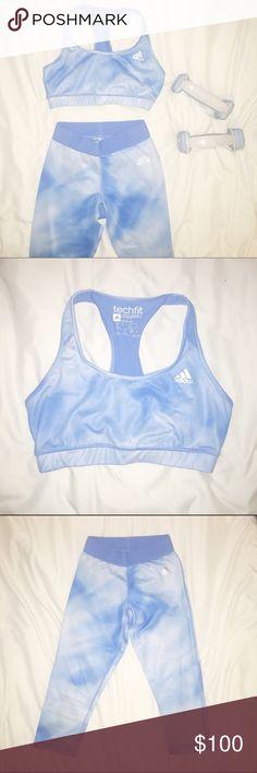 RARE ADIDAS Matching Sports Bra and Yoga Pants Super cool set by Adidas. Matching sports bra and capri yoga pants. Only sold together! Adidas Pants Leggings