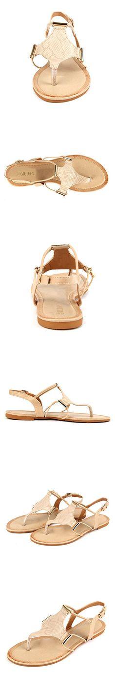 MuDan Women's Strappy Rhinestones Thong Buckle Strap Gladiator Flat Sandals (10 B(M) US, Apricot)