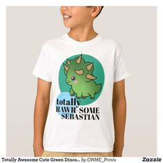 Shop Totally Awesome Cute Green Dinosaur with Circles T-Shirt created by ONME_Prints. Cartoon Dinosaur, Cute Dinosaur, Motivational Slogans, Totally Awesome, Kawaii Fashion, Cute Designs, Cute Kids, Circles, Fitness Models