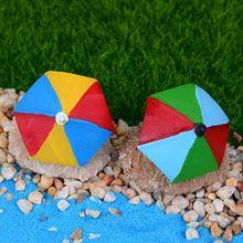2 Pcs Zakka Wyatt Beach Umbrella Diy Mini Brinquedos Resina Artesanato Figuras De Fadas Jardim Miniaturas Aquário Vaso Decoração(China (Mainland))