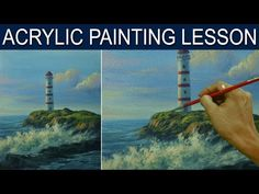 Acrylic Landscape Painting Tutorial | Lighthouse and Crashing Waves by JM Lisondra - YouTube Acrylic Painting For Beginners, Simple Acrylic Paintings, Acrylic Painting Techniques, Beginner Painting, Painting Videos, Acrylic Art, Painting Tips, Painting Art, Abstract Landscape