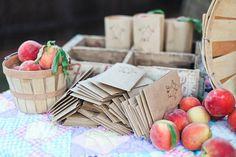 take home peaches favor table
