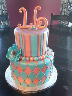 Orange Blue & Purple Cake by Designer Cakes By April, via Flickr