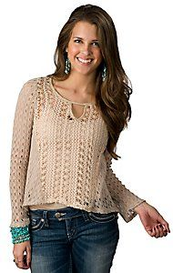 Vintage Havana® Women's Ivory Crochet Hi-Lo Long Sleeve Fashion Top
