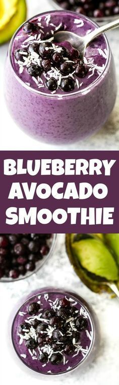 This super creamy blueberry avocado smoothie is packed with protein, healthy fats, vitamins and antioxidants. Gluten-free and easily made vegan, it makes a healthy and delicious breakfast or snack runningwithspoons. Blueberry Avocado Smoothie, Smoothies Vegan, Breakfast Smoothies, Smoothie Drinks, Smoothie Bowl, Detox Drinks, Blueberry Breakfast, Fruit Smoothies, Breakfast Healthy
