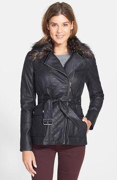 kensie Faux Fur Trim Faux Leather Moto Jacket (Online Only) available at #Nordstrom