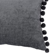 Also available in a vibrant pink, this boudoir cushion has been finished in a modern charcoal colourway and features fun pompom detailing on the edges. Guest Bedroom Office, Master Bedroom, Chenille Fabric, Charcoal Color, Boudoir, Cushions, Stylish, Pink, Surface