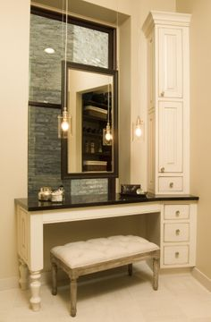 "bathroom makeup vanity and chair |  sink vanities / 60"" taren"