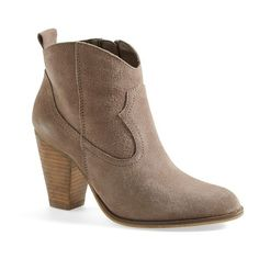 Women's Steve Madden 'Plover' Bootie (126 CAD) ❤ liked on Polyvore featuring shoes, boots, ankle booties, chunky-heel ankle boots, short boots, ankle cowboy boots, western booties and suede ankle booties