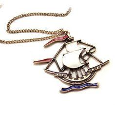 Openwork ship necklace
