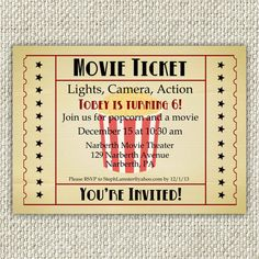 Vintage Movie Birthday Invitation Movie by TwinkleToePrintables, $12.00