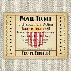 Vintage Movie Birthday Invitation Movie by TwinkleToePrintables, $12.00