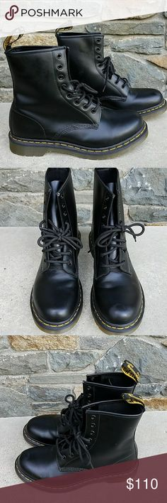 Dr Martens 1460 boots Lace up boots with 8 eye holes, leather upper, air cushion sole, back pull tabs, ladies size 10..eu 42, very good condition Dr. Martens Shoes Combat & Moto Boots