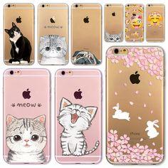 애플 아이폰 6 6 초 5 5 초 SE 6 플러스 6 sPlus 5C 4 4 초 부드러운 실리콘 투명 전화 케이스 커버 귀여운 고양이 토끼 Emojio 전화 카파