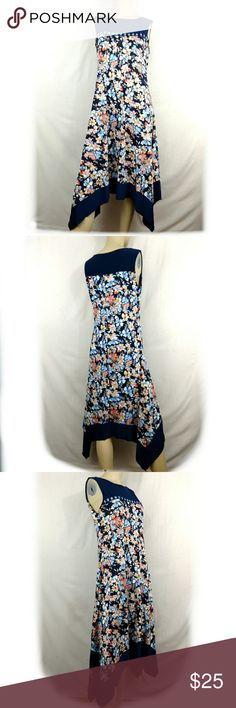 PERSEPTION CONCEPT Floral asymmetrical Dress Large PER SEPTION CONCEPT navy blue Floral asymmetrical cocktail Dress Womens Large Brand New without tags. Large.  (G) per seption concept Dresses
