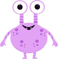 Purple Two Eyed Monster Clip Art