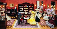 Café and pastry shop in the largest miniature department store in the world. Miniature Rooms, Miniature Houses, Doll Museum, Romantic Music, Hessian, Miniture Things, Small World, Department Store, Miniatures