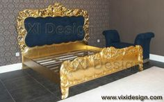 Gold leaf bed luxury Italian furniture
