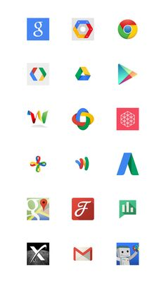 Google's social media icon designs http://www.cssdesignawards.com/articles/brand-design-for-small-spaces-300-examples/117/