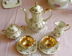 Golden Floral Filigree 1970s Vintage Tea Set. absolutely looking to add a beautiful vintage tea set to my home