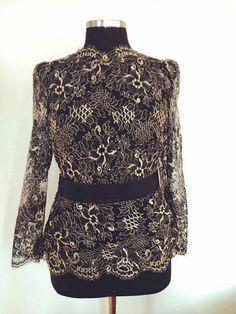 Black Lace Gold Floral Top  Long Sleeve  Occasion top