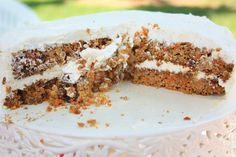 Healthy carrot cake made with almond flour and sweetened with honey. Great for kid's birthday or Sunday brunch.