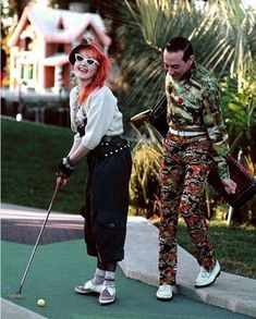 Cyndi Lauper and Pee Wee Herman. What ever happened to poor old Pee Wee Herman? Pee Wee Herman, Cyndi Lauper, Norman Rockwell, Beautiful Celebrities, Beautiful People, Paul Reubens, Odd Couples, Power Couples, Famous Faces