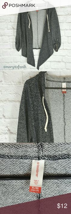 """Black High Low Open Front Sweatshirt Jacket xL Black High Low Open Front Cardigan Sweatshirt Jacket xL by No Boundaries in excellent used condition.   Waist from Seam to Seam: 20"""" Back Length from Top: 25""""  Please let me know if you have any questions. Happy Poshing! No Boundaries Jackets & Coats"""