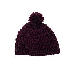Womens Mens Bobble Pom Pom Slouchy Beanie Hat in Burgundy by Bucum, $25.00