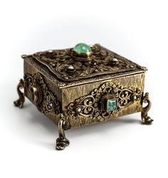 Continental Gilt Silver Ring Trinket Box 19th C. Jeweled Emeralds Garnets Pearls
