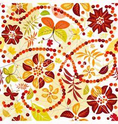 Autumn flowers seamless pattern vector