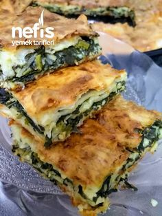 Spinach Pie with Sugar Sauce - Delicious Recipes Appetizer Recipes, Snack Recipes, Cooking Recipes, Snacks, Turkish Recipes, Italian Recipes, Ethnic Recipes, Spinach Pie, Greek Cooking