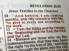 """Jesus Testifies to the Churches"" Revelation 22:12-13"