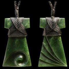 A Toki pendant with complex bindings, sculptural engravings hand carved in stunning New Zealand Flower jade or Pounamu by Madelyne Gourdin.