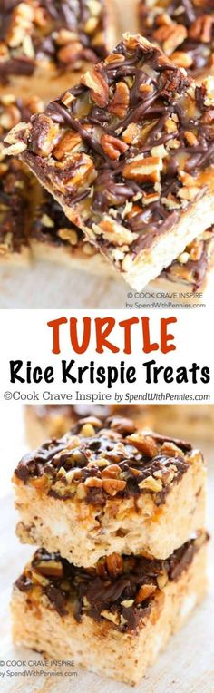 Turtle Rice Krispie Treats are quick and easy to make and loaded with gooey caramel, pecans and rich chocolate. Plus a secret tip to make the best soft chewy Rice Krispie Treats you've ever had! (easy cinnamon rolls for a crowd) Rice Crispy Treats, Krispie Treats, Yummy Treats, Sweet Treats, Köstliche Desserts, Delicious Desserts, Dessert Recipes, Cereal Recipes, Paleo Cereal