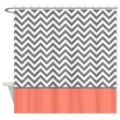 CafePress Gray Chevron Pattern Coral Stripe Shower Curtain - Standard White CafePress http://www.amazon.com/dp/B00JTO56NO/ref=cm_sw_r_pi_dp_69adub1KXXWND